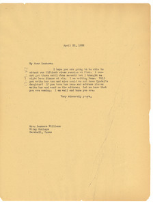 Letter from W. E. B. Du Bois to Leonora Williams