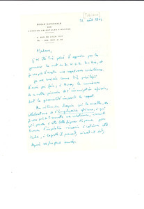 Letter and envelope from J. Tubiana to Shirley Graham Du Bois