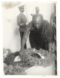 N. A. Welbeck lays a wreath at the graveside of W. E. B. Du Bois