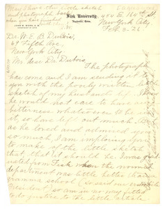 Letter from Agnes Work to W. E. B. Du Bois