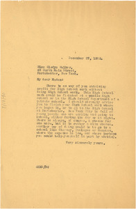 Letter from W. E. B. Du Bois to Gladys Walker