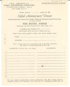 American Nobel Anniversary Committee dinner reservation form
