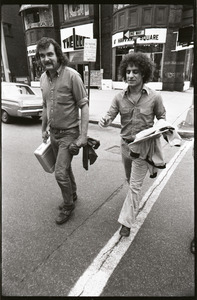 Abbie Hoffman and George Kimball walking on Newbury Street