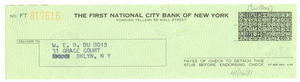 Banking receipt of check