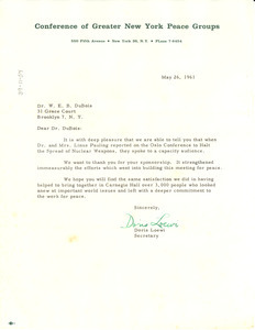 Letter from Conference of Greater New York Peace Groups to W. E. B. Du Bois