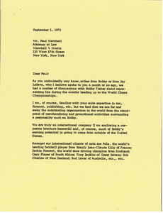Letter from Mark H. McCormack to Paul Marshall