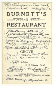 Burnnett's Popular Price Restaurant