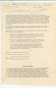 Open letter from National Council of Arts, Sciences and Professions to U.S. Department of State