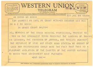 Telegram from members of the Iraqi medical profession to W. E. B. Du Bois