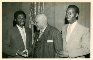 W. E. B. Du Bois and two unidentified men in Soviet Union
