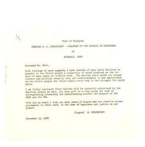 Telegram from Nikita Khrushchev to Rockwell Kent
