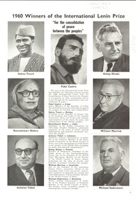 1960 winners of the International Lenin Prize