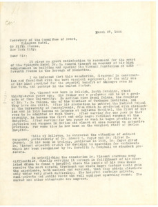 Letter from Chase Mellen to the NAACP Spingarn Medal Committee