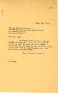 Letter from W. E. B. Du Bois to Consulate General of the Netherlands