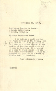 Letter from W. E. B. Du Bois to George A. Towns