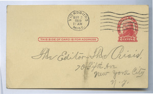 Postcard from G. M. McIntyre to Editor of the Crisis
