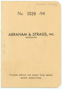 Abraham & Straus Account Book for Nina Du Bois