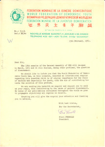 Circular letter from World Federation of Democratic Youth to W. E. B. Du Bois