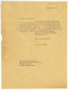 Letter from W. E. B. Du Bois to American Unitarian Association
