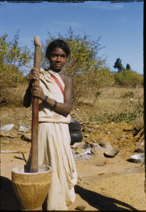 Birhor girl pounding grain
