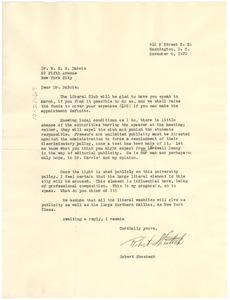 Letter from George Washington University Liberal Club to W. E. B. Du Bois