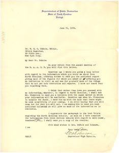 Letter from W. A. Robinson to W. E. B. Du Bois