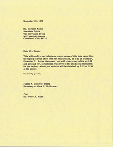 Letter from Judy A. Chilcote to Herbert Kamm