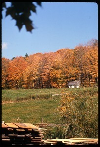 View of a small house across a field, Montague Farm Commune