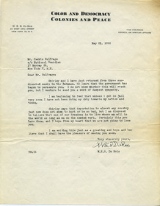 Letter from W. E. B. Du Bois to Cedric Balfrage