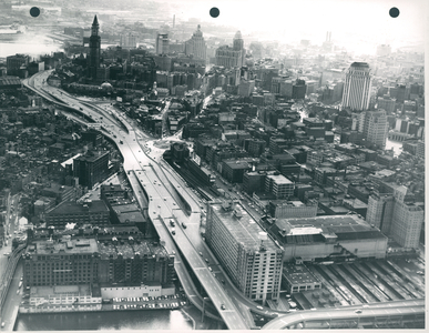 Aerial view of Boston showing Central Artery, Custom House Tower, and Faneuil Hall