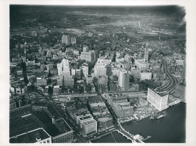 Aerial view of Boston showing West End