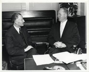 Mayor John F. Collins speaking with the French Consul General to Boston