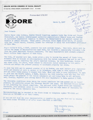 Congress of Racial Equality's John Young letter with attched memo