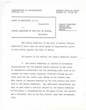 Board of Education v. School Committee of the City of Boston motion