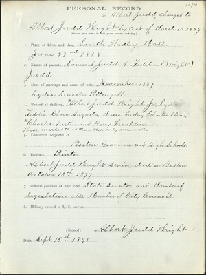 Personal record of Albert Judd Wright (1174)