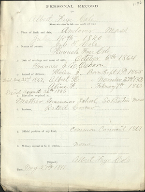 Personal record of Albert Frye Cole (1196)