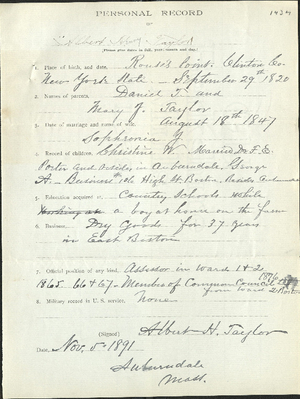 Personal record of Albert H. Taylor (1434)