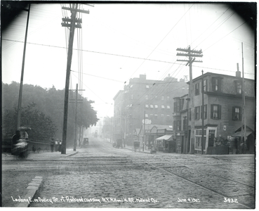 Looking east on Dudley Street at railroad crossing, New York-New Haven and Hudson River Railroad Midland Division