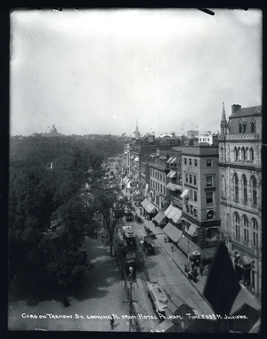 Cars on Tremont Street looking north from Hotel Pelham