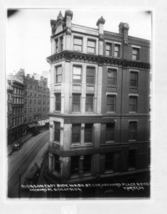 Buildings on east side Washington St. corner Hayward Place, north side, Hayward Place side of building, Boston, Mass., March 24, 1904