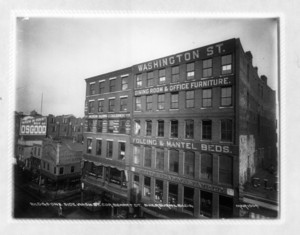 Buildings one side Washington Street, corner Bennet Street, Sherburne Building, Boston, Mass., March 1904