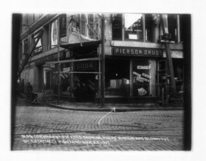 Corner Essex and Washington Sts. showing where window was blown out by extremely high wind, 626 Washington Street, March 20, 1907