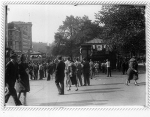 Parade crowd at Park Street Station entrance, Boston, Mass., September 1940