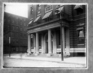 Front view of Boston City Hospital Relief Station, Haymarket Square, Boston, Mass.
