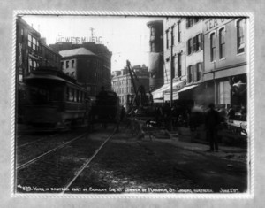 Work in eastern part of Scollay Square at corner of Hanover Street, looking northerly, Boston, Mass., June 2, 1897