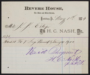 Billhead for the Revere House, corner Main and Elliot Streets, Brattleboro, Vermont, dated May 1, 1874
