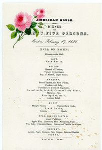 American House, dinner for twenty-five persons, Boston, Mass., February 19, 1854