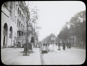 Laborers working on a sidewalk, Munich, Germany