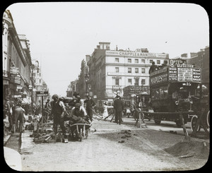 Laborers work on a London street