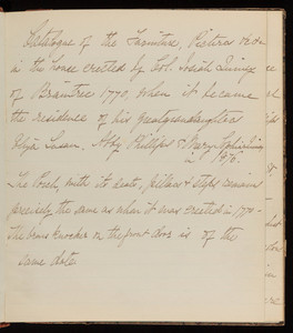 """Inventory of Quincy House: """"Catalog of the furniture, pictures & etc. in the house erected by Col. Josiah Quincy of Braintree 1770"""""""
